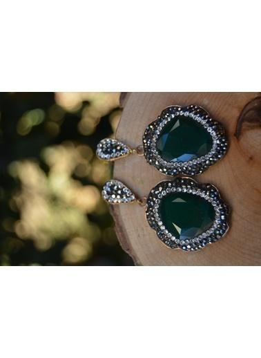 Stoneage Tasarım Yeşil Kristal Taşlı Bayan Küpe Renkli